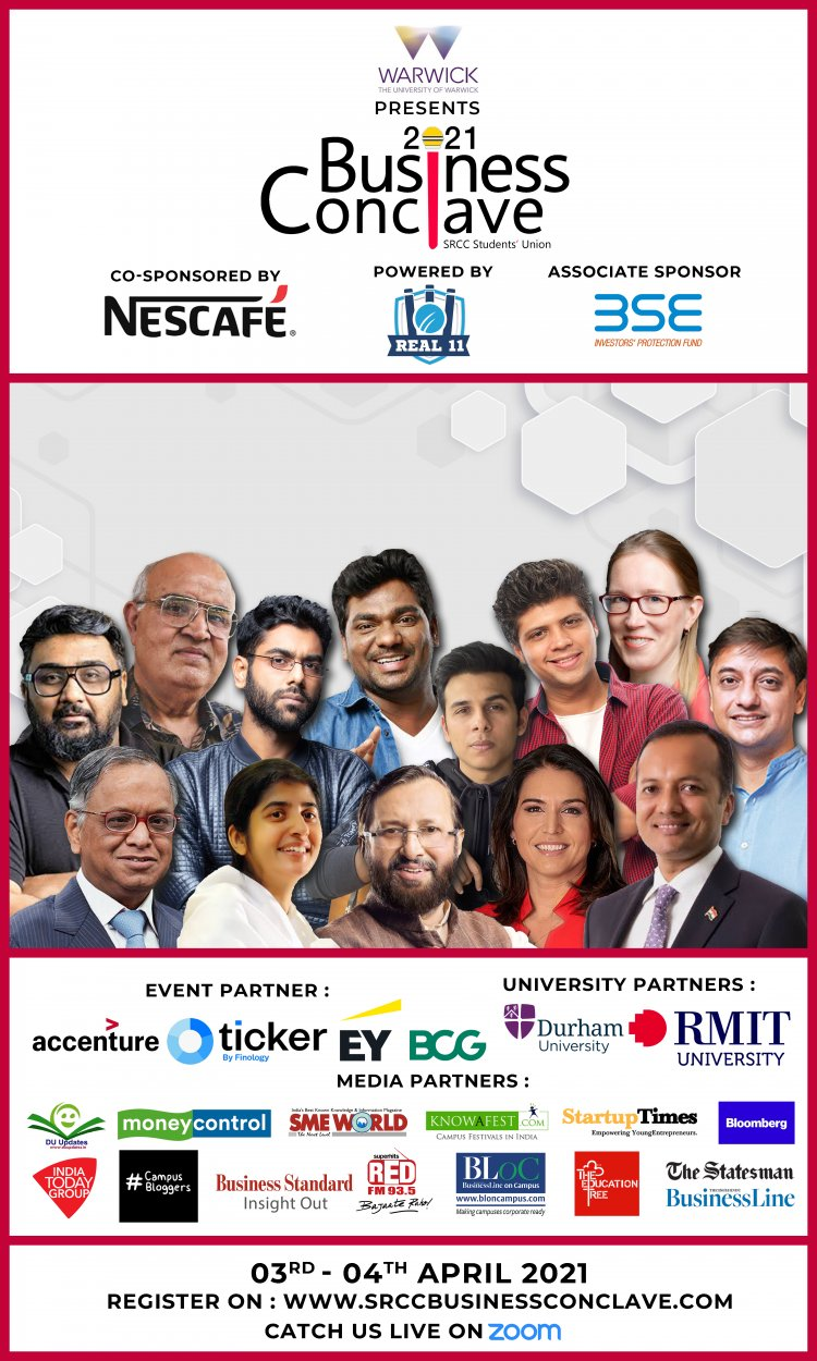 Shri Ram College of Commerce to host Asia's largest management fest  – BUSINESS CONCLAVE on 3rd and 4th April, 2021